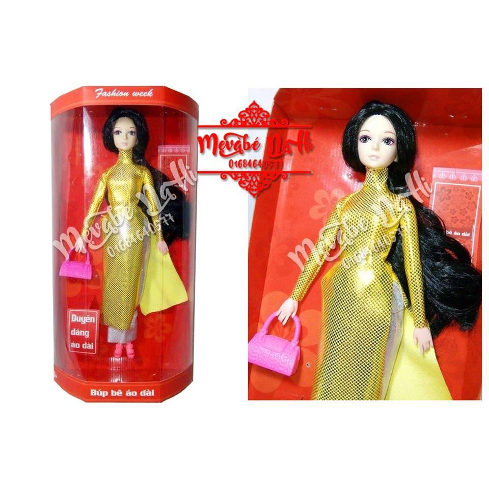 Búp bê áo dài - Barbie có khớp mặc áo dài vàng: Hàng Việt Nam