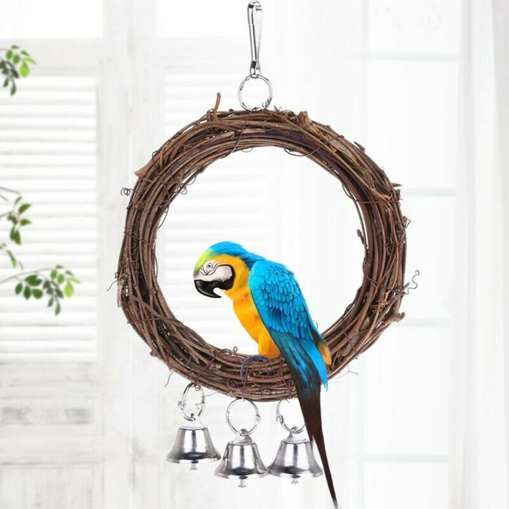 Hanging Playing Funny Safe Standing With Bells Chewing Eco-friendly Parrot Toy