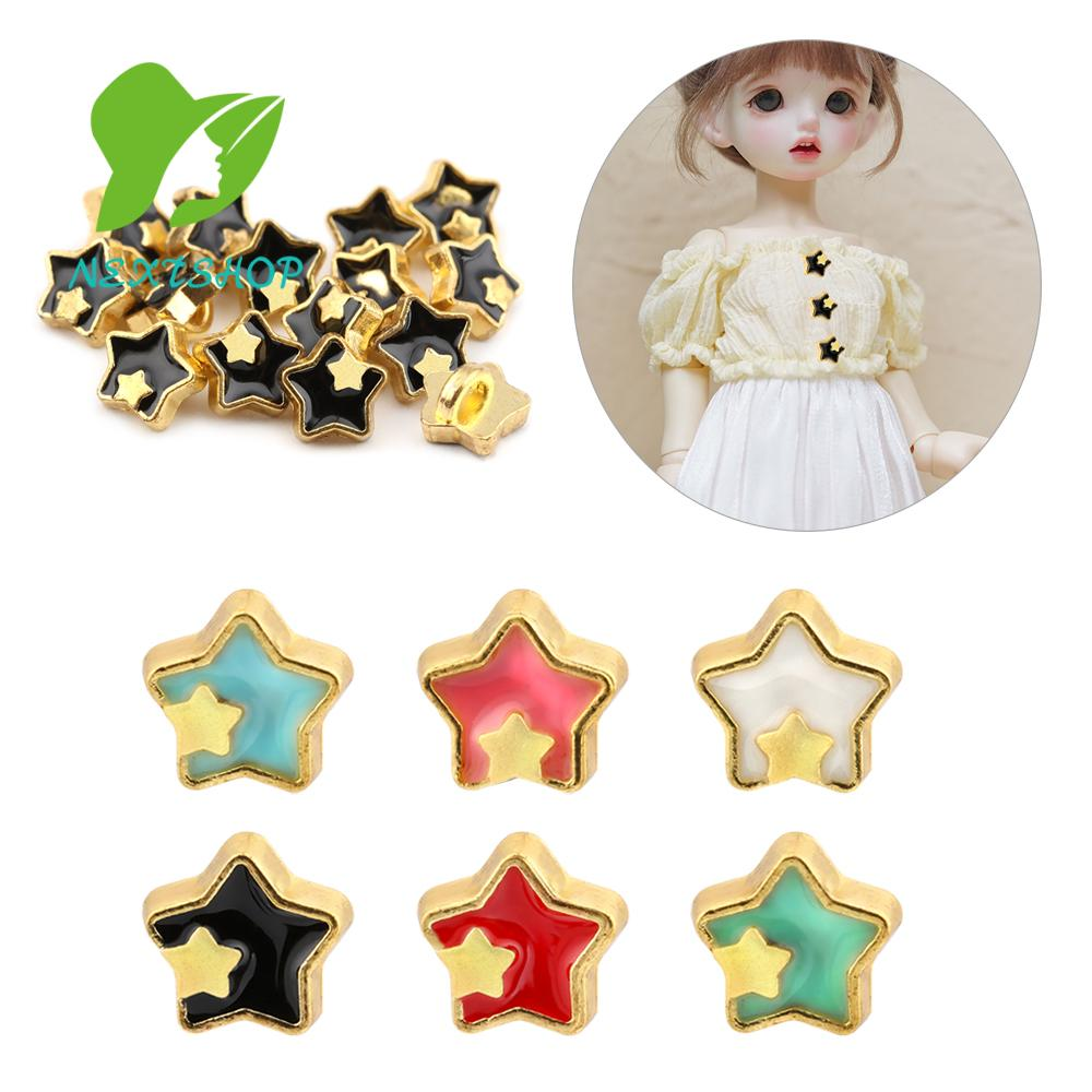 NEXTSHOP 20pcs Cute Girl Gift Mini Buttons Printed Pattern Decoration Clothing Sewing Buckle Metal Buckles Dollhoues Miniature Craft Accessories Star Shape 5mm DIY Doll Clothes/Multicolor