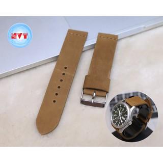 Dây đồng hồ da bò sáp Nâu bò handmade tặng kèm khóa