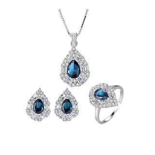 Bộ Trang Sức Bạc Nữ Thiết Kế Hình Giọt Nước Đính Đá Màu Trắng Sang Trọng  BNT617-Bảo Ngọc Jewelry