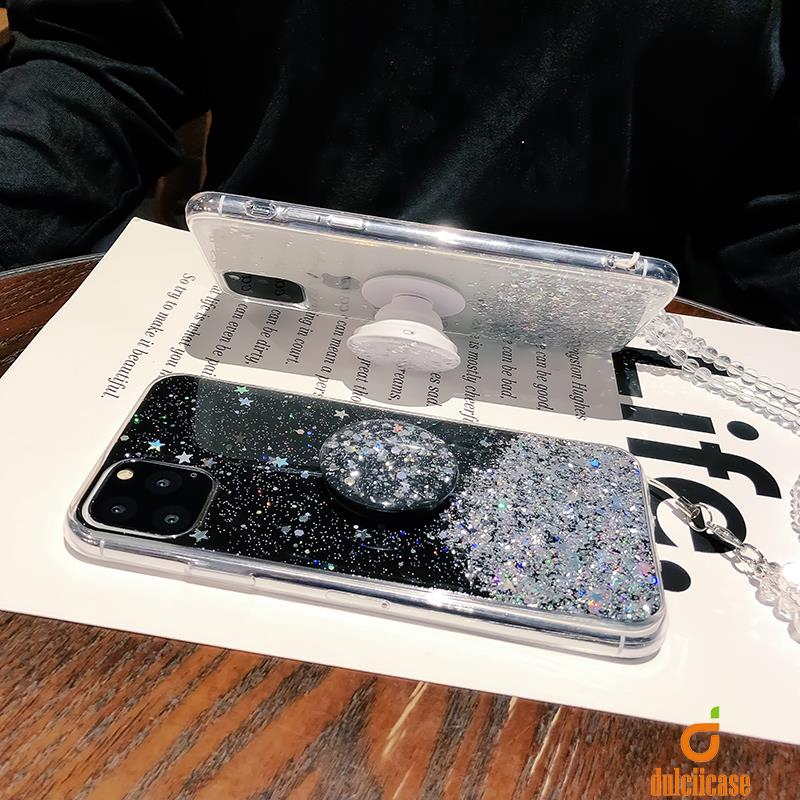 vivo Y93 Y85 V9 V11i Foil Glitter Powder Epoxy TPU Case with Stretchable Air Bag Kickstand and Strap