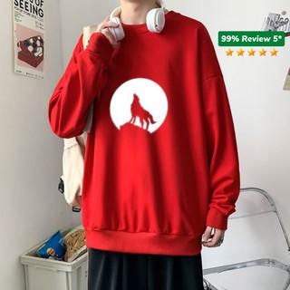 Áo Sweater nỉ ❤️/Áo nỉ Ulzzang phản quang unisex dài tay cho nam và nữ – Sói Mặt Trăng /Freeship 99k – AS20