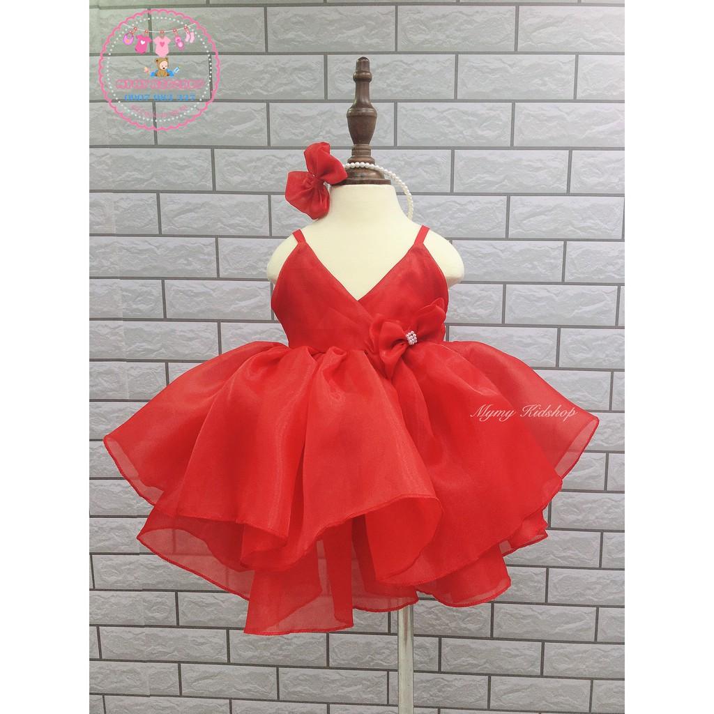[⚡FREESHIP⚡ + KÈM CÀI] Đầm dây đỏ xinh xắn - Đầm trẻ em chất voan Hàn cao cấp