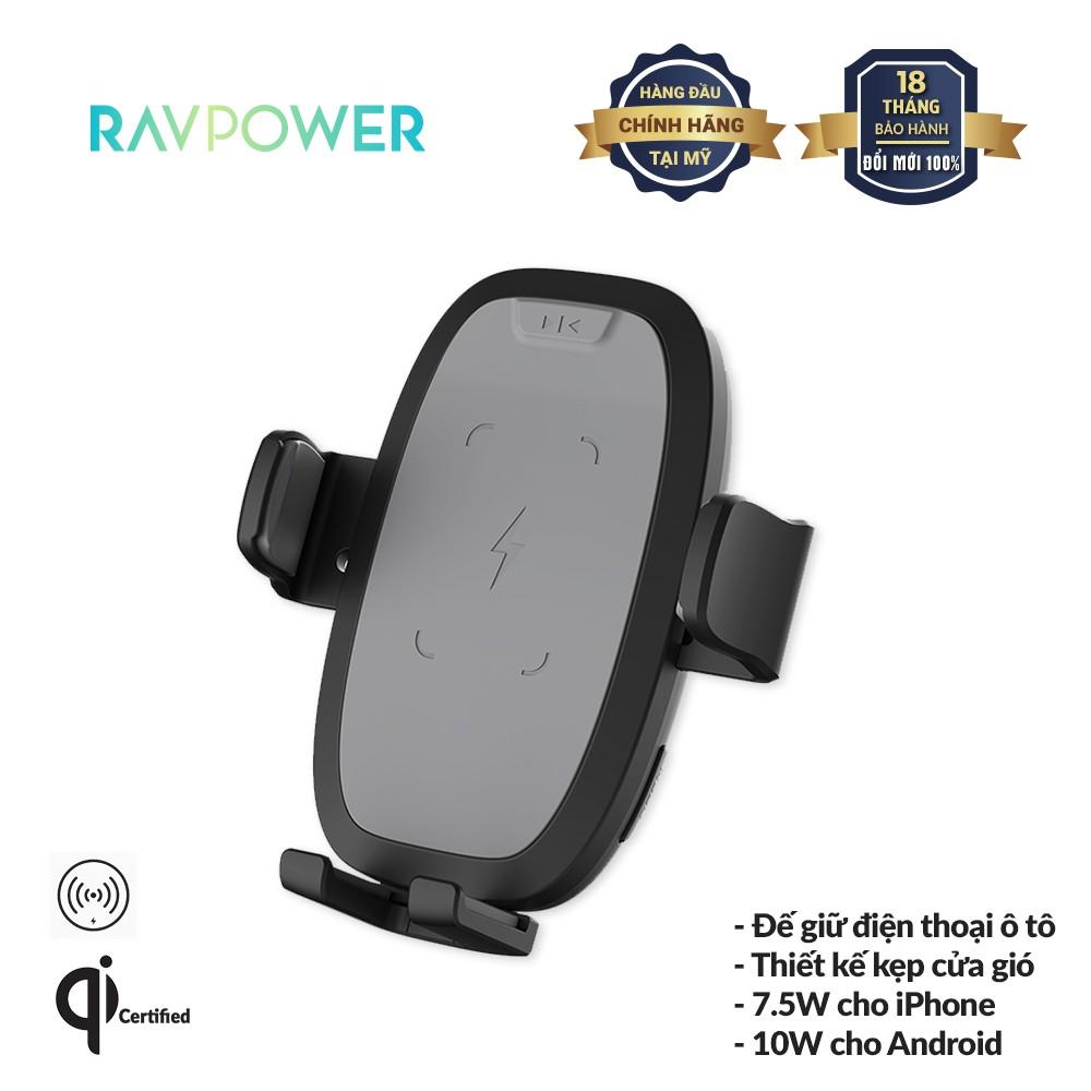 Giá Giữ Điện Thoại Trên Ô Tô, Xe Hơi RAVPower RP-SH014 10W Tích Hợp Sạc Không Dây, Xoay 360 độ