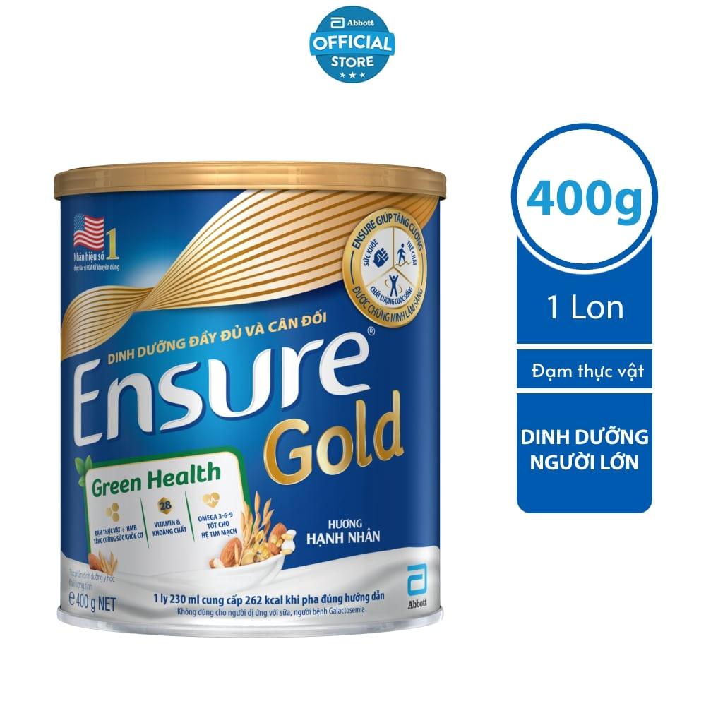 Sữa bột Ensure Gold Đạm thực vật hương hạnh nhân 400g/lon