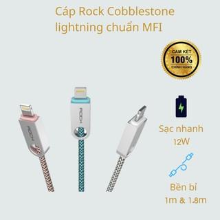Cáp Rock Cobblestone lightning chuẩn MFI, Cáp sạc iphone ipad, Sạc nhanh, Hàng chính hãng thumbnail