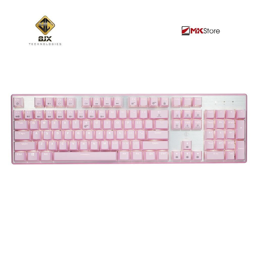 Bàn phím cơ BJX KM9 Full size 104 phím LED White (Pink)