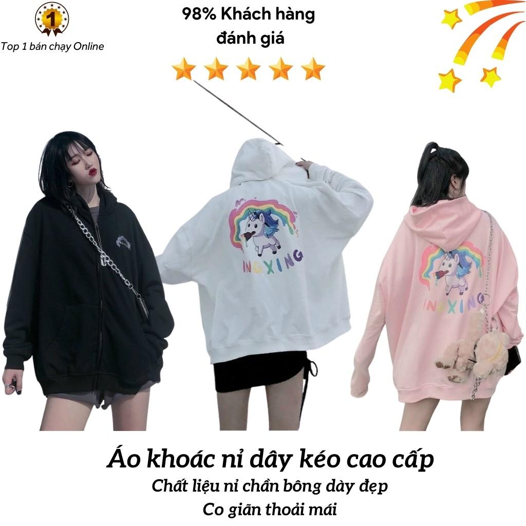 Áo khoác nỉ unisex KN9 dây kéo, in cầu vồng INGXING tinh tế, chất liệu dày đẹp, ấm áp, form Hàn Quốc cho nam và nữ