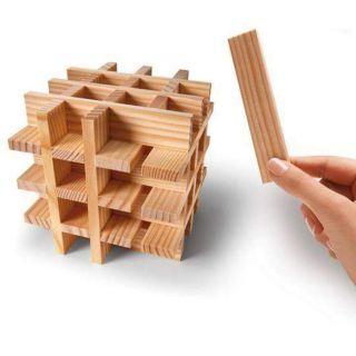 《 》Đồ chơi xếp hình trí tuệ 100 thanh gỗ mộc