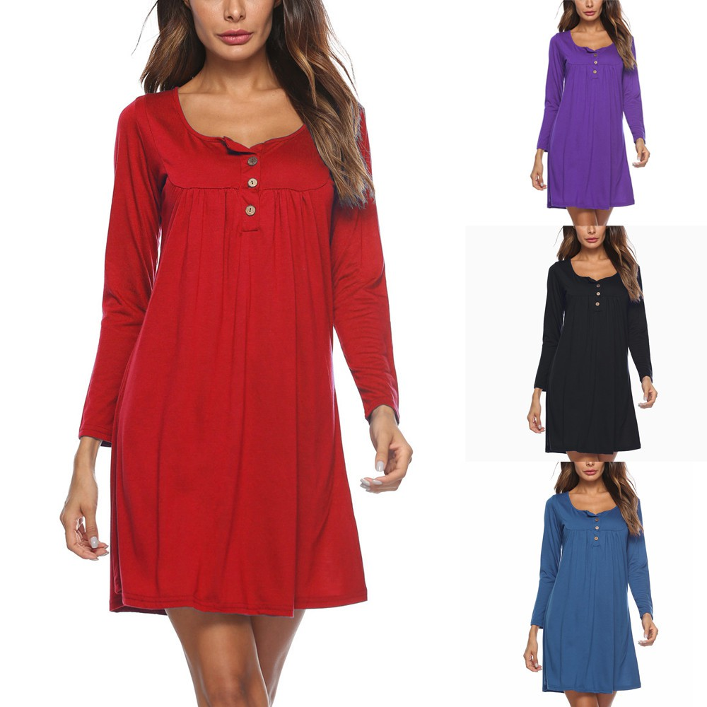 ❤ Women's Casual Solid Long Sleeve Dress Loose Button O-neckline Mini Dress