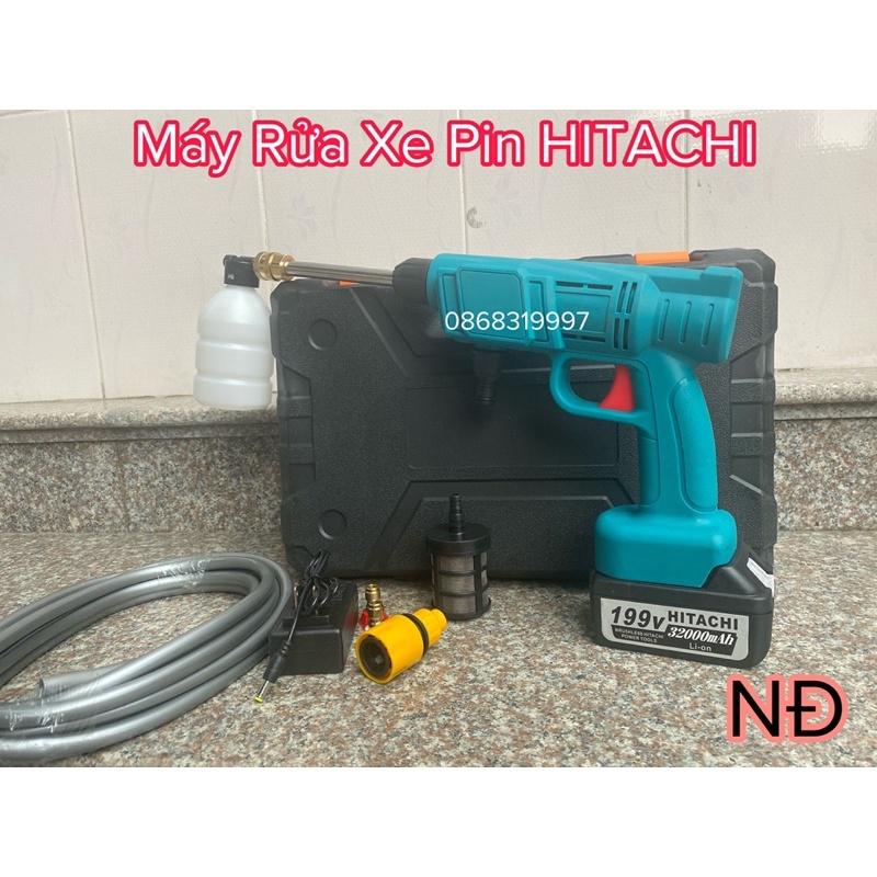 Máy rửa xe pin Hitachi 199v 99000mah - không chổi than - hộp đựng cao cấp - siêu khoẻ