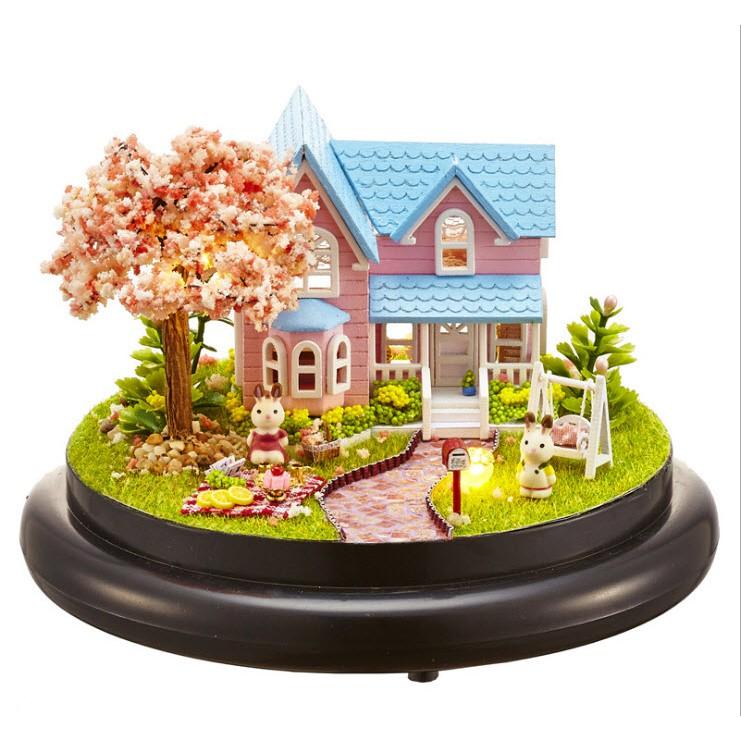 Mô hình nhà gỗ DIY hộp âm nhạc – Biệt thự hoa anh đào