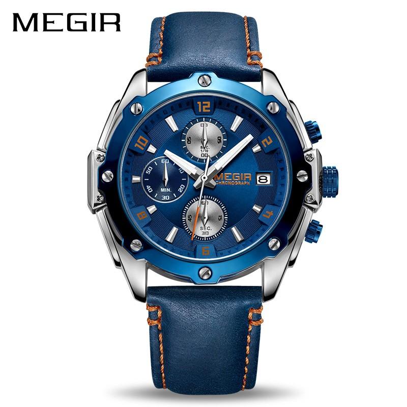 Đồng hồ đeo tay mặt tròn dây da sang trọng dành cho nam MEGIR