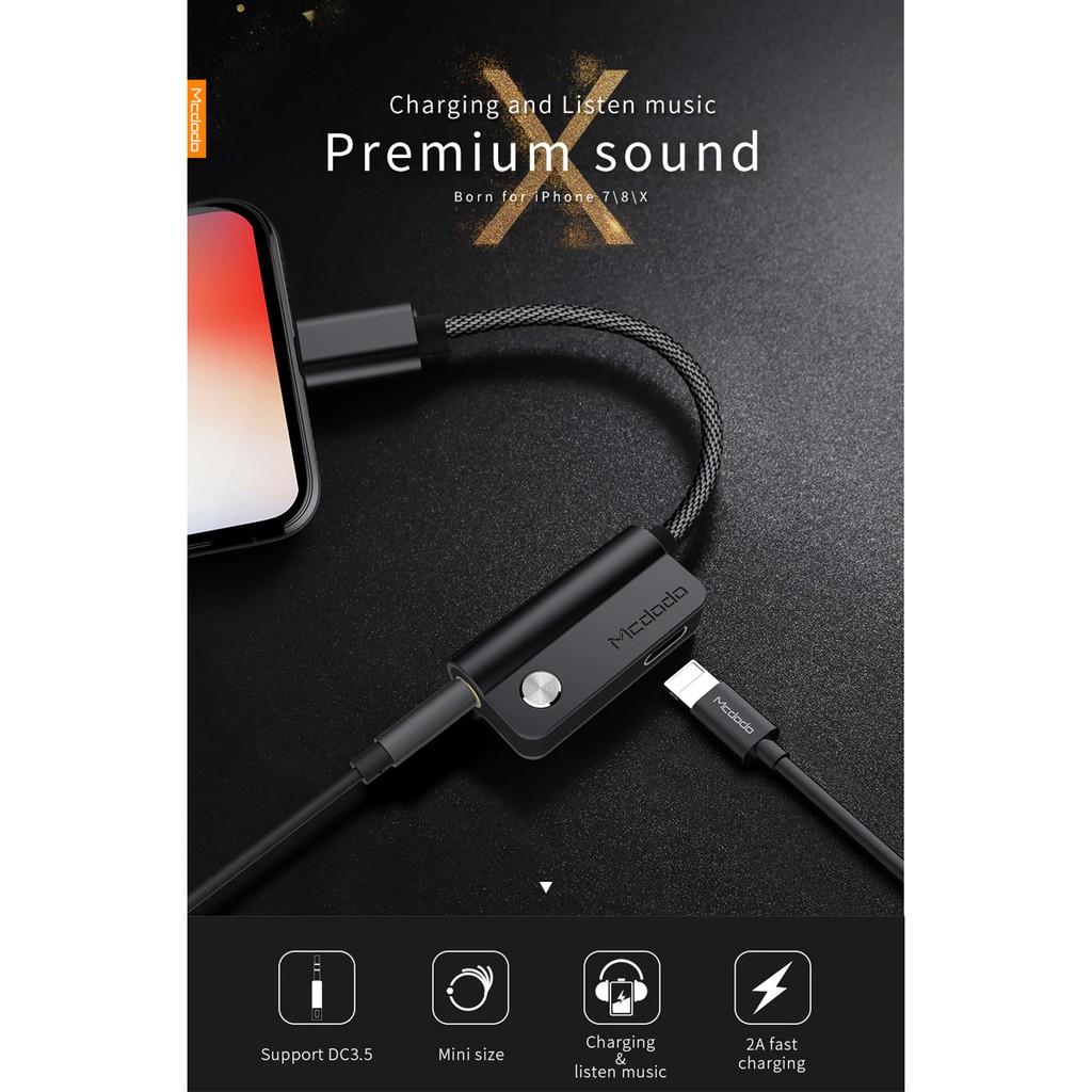 Dây cáp chia nhánh Mcdodo 2 trong 1 cắm sạc và tai nghe dành cho iPhone