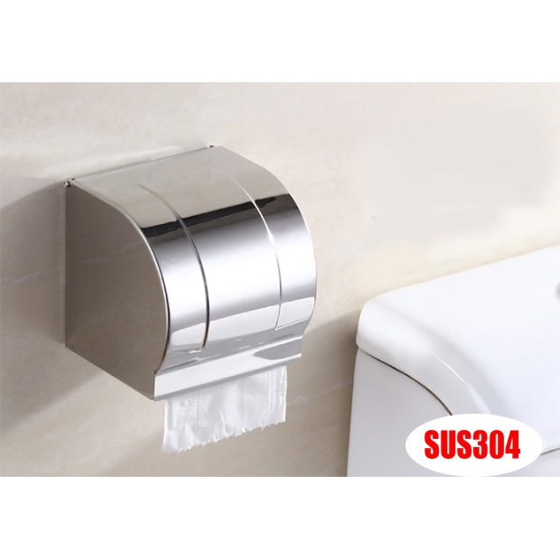 Hộp đựng giấy vệ sinh inox gắn tường cao cấp, chống ướt giấy không hoen gỉ trong môi trường chất tẩy rửa 9362