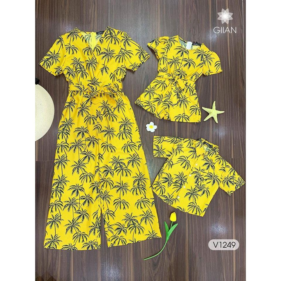 Áo cây dừa bé gái, áo gia đình đi dạo, đi biển chất lanh,mát mẻ V1249-Bé gái