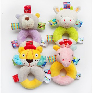 1 Pcs Soft Plush Rattle Grasping Appease Animal Hand Puppet Doll for Toddler