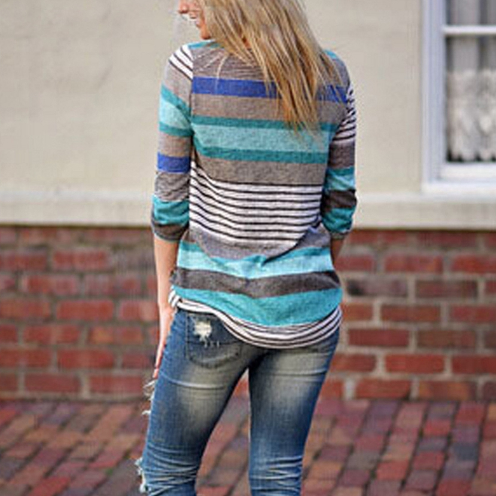 3/4 Sleeve Autumn Spring Striped Soft Irregular Hem Loose Daily Women Blouse