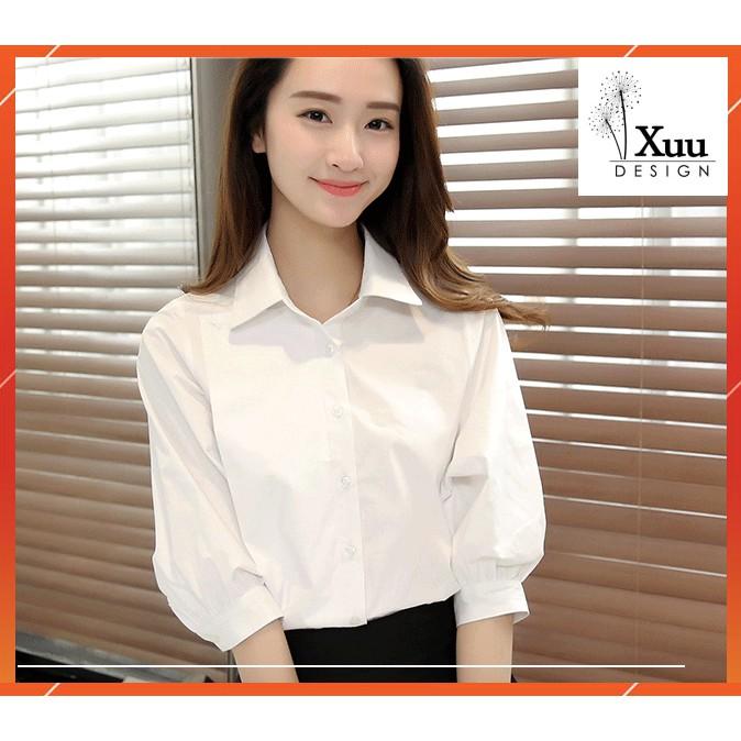 Áo Sơ Mi Nữ trắng tay bồng Xuu Design 💖 Freeship - Ảnh Thật💖 Sơ mi kiểu [ SMK10