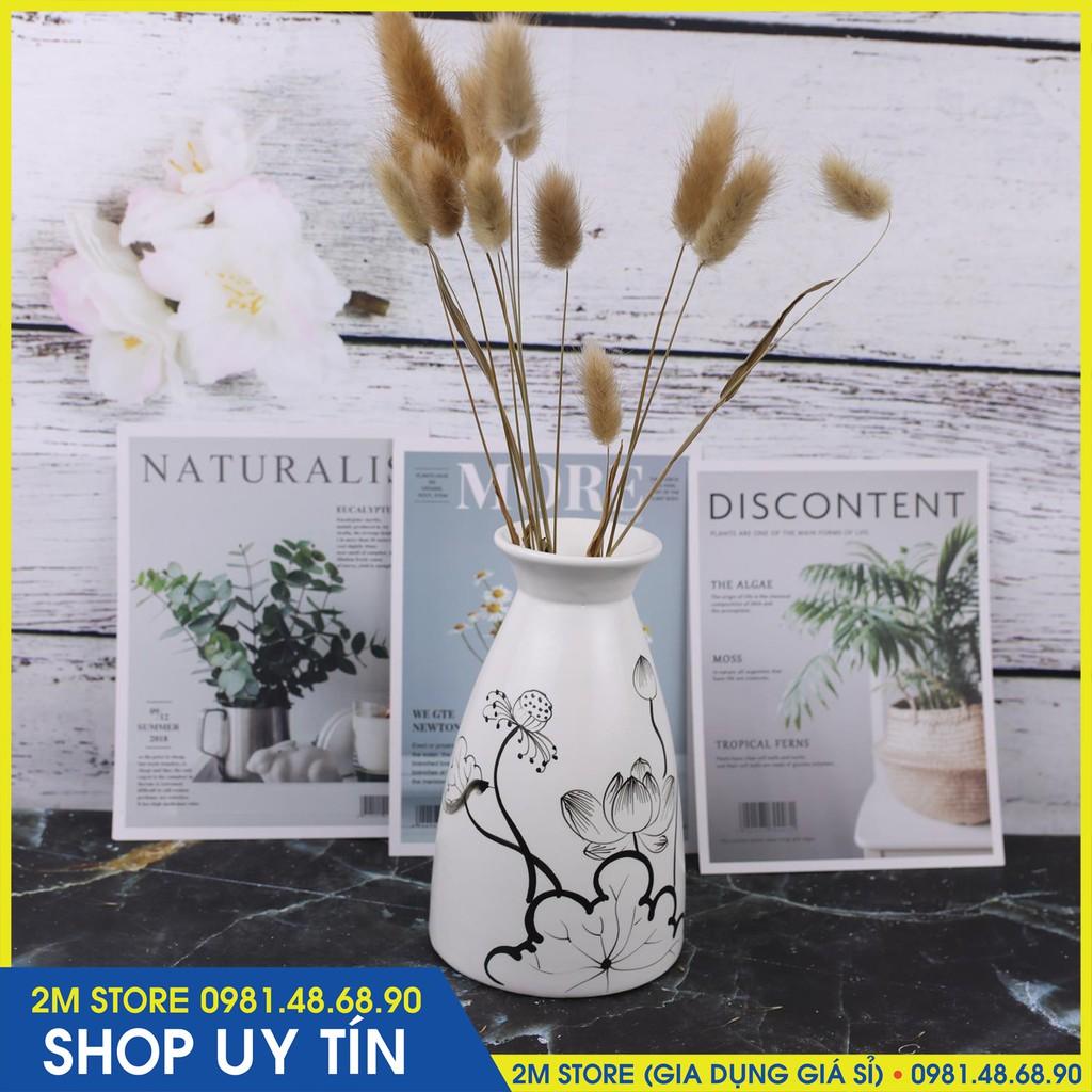 (CHỌN MẪU) Lọ Hoa Bát Tràng In Hình Nghệ Thuật Kiểu Dáng Hình Phễu Cao 17.5cm