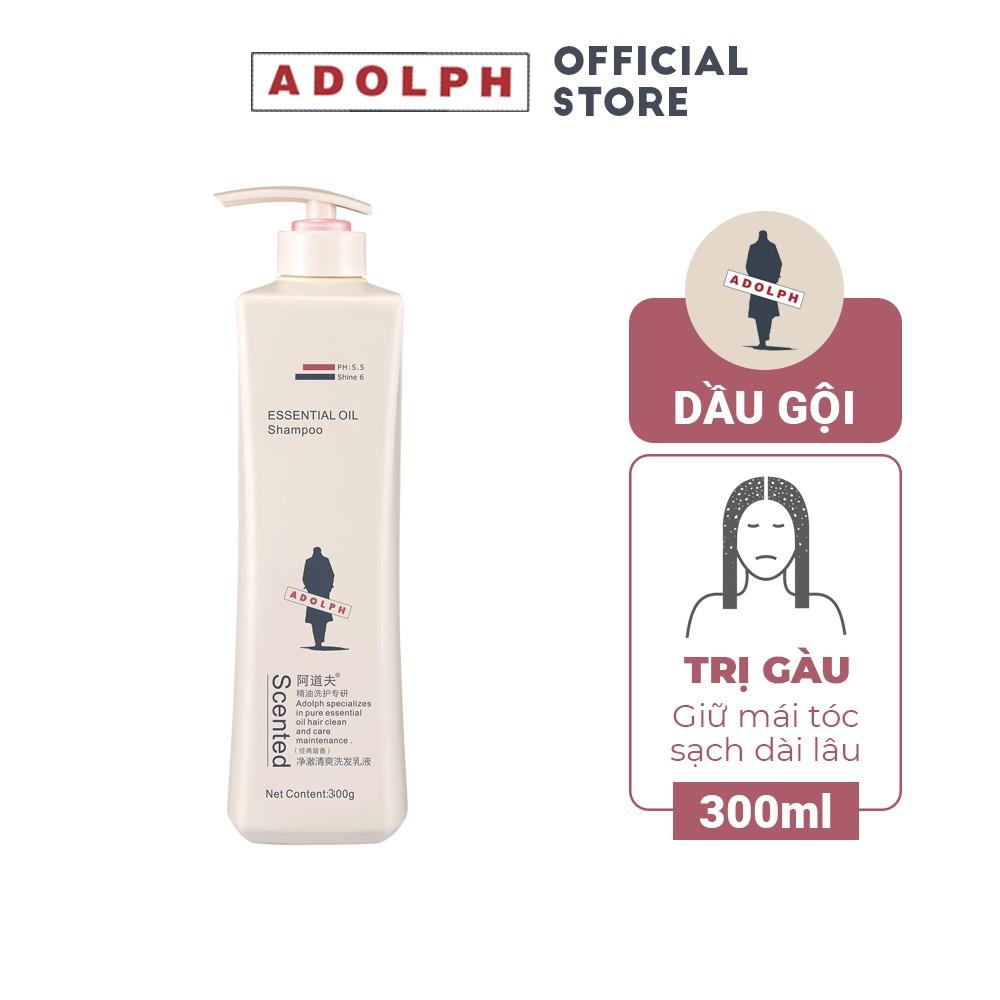 Dầu gội trị gàu, sạch dầu, giúp tóc mềm mượt Adolph Anti Dandruff giữ tóc sạch dài lâu 300ml