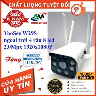 [Tặng thẻ nhớ 128GB] Camera Wifi YooSee 4 râu 8 đèn ngoài trời ban đêm có màu W29S 2.0Mpx Full HD 1920x1080P