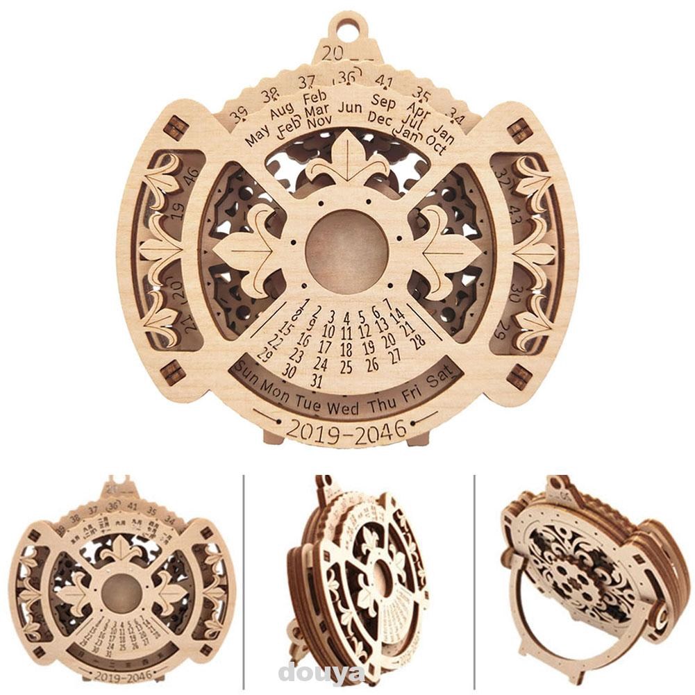 Gift Home Mechanical Transmission Stand Wall Wooden Model Toy Perpetual Calendar