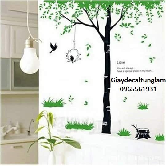 Decal dán tường cây xanh (đơn)