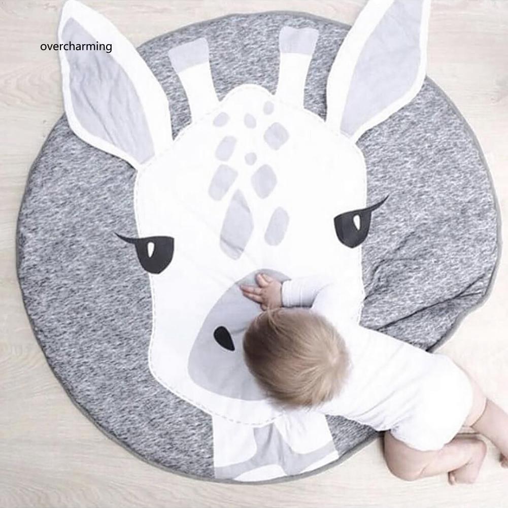 J_Toddler Cartoon Giraffe Head Play Floor Mat Baby Crawling Blanket Room