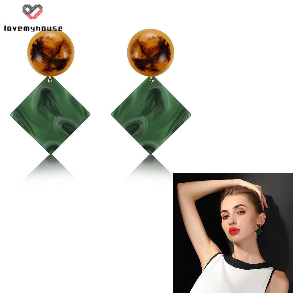 1 Pair Women Stud Earrings Square Acrylic Geometric Earring