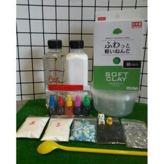 Bộ kit làm butter slime và cloud slime (daiso clay chính hãng)