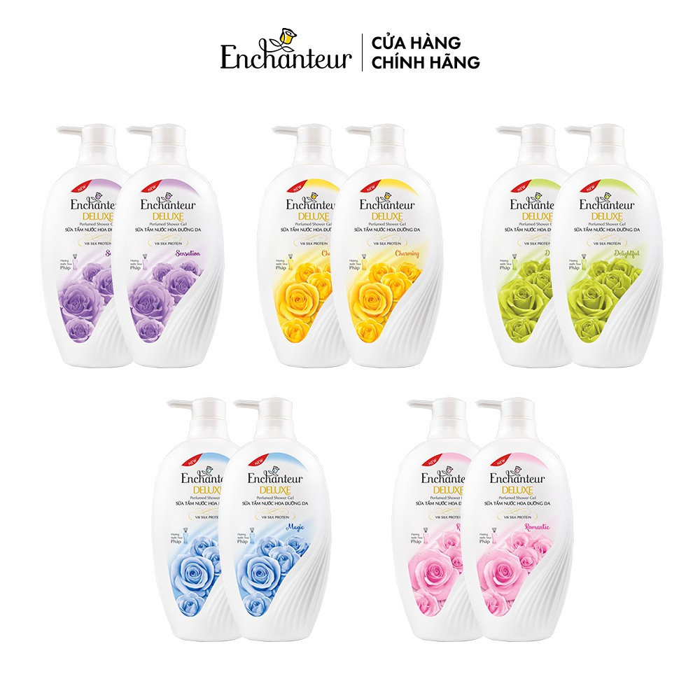 Bộ 2 Sữa tắm hương nước hoa Enchanteur Charming/Sensation/Delightful/Romantic/Magic 650gr/ Chai