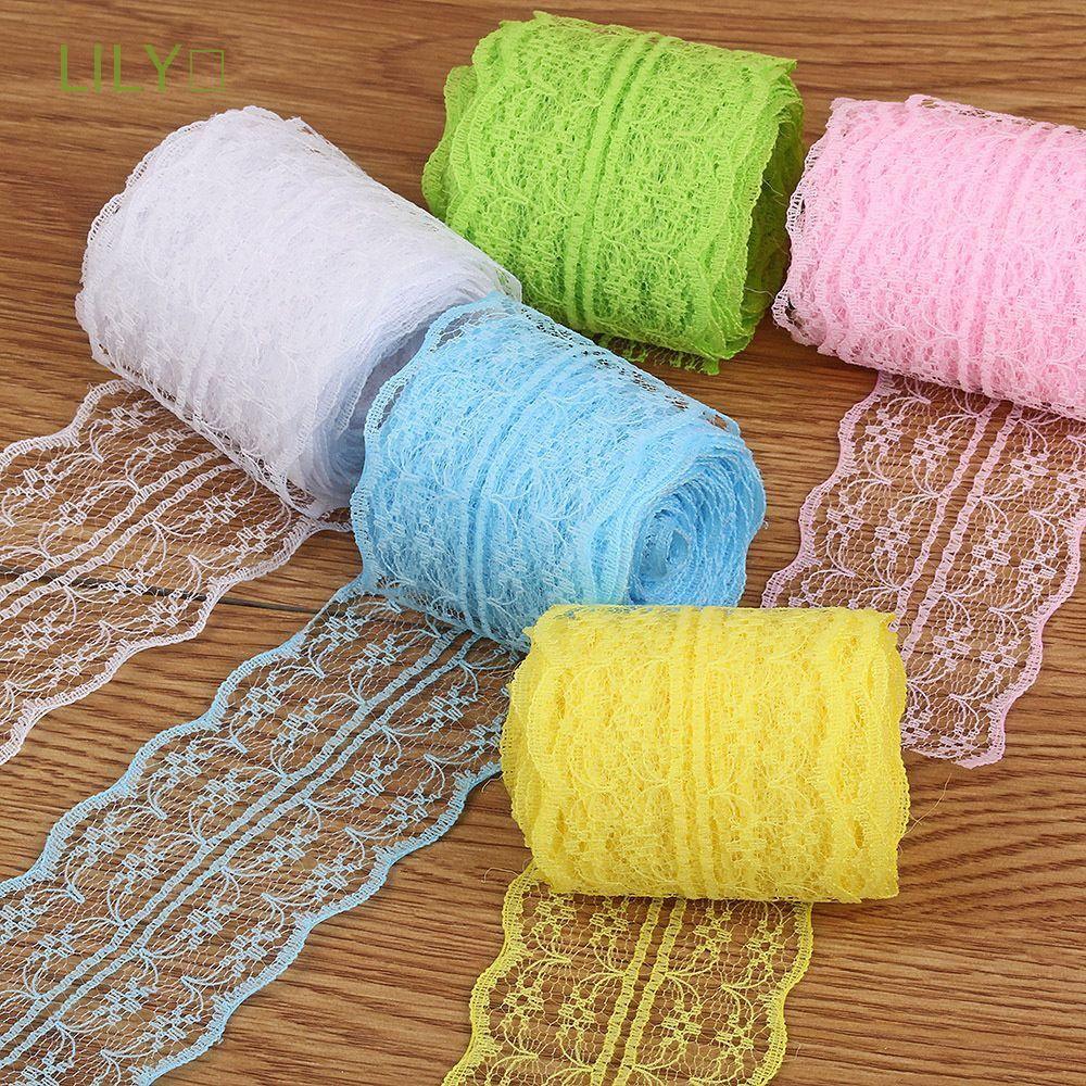 LILY🌿 package Lace pattern decoration Webbing lace material color Warp knitting Polyester Yarn manual/Multicolor