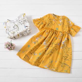 Váy Ngắn Tay In Hoa Dễ Thương Cho Bé Gái