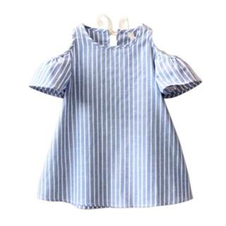 Đầm bé gái 4-9 tuổi sọc dọc trễ vai xinh xắn BBShine – D002