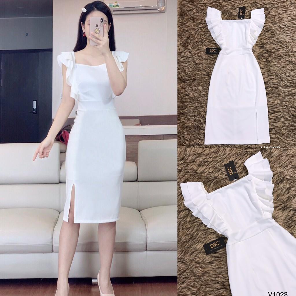 HÀNG CHUẨN Váy suông trắng V1023 -(Kèm ảnh thật trải sàn do shop tự chụp)