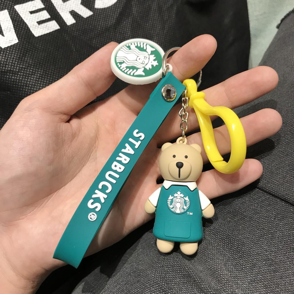 Móc khóa Gấu Starbucks áo xanh