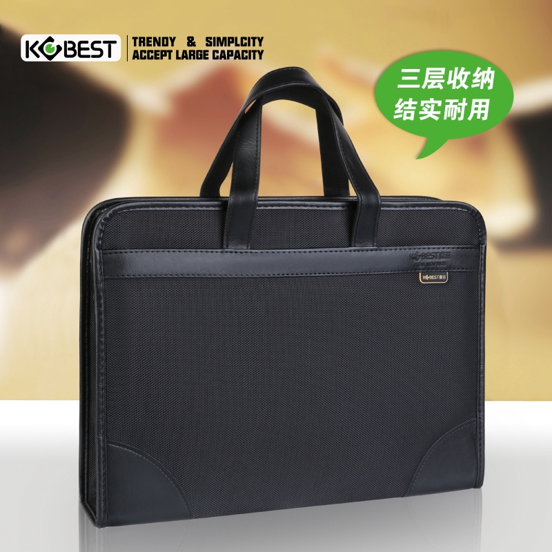 ✵Kang Bai Document package canvas Office men's handbag business multi-storey Oxford Briefcase woman minimalist informat