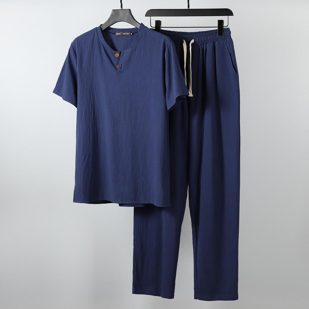 Mặc gì đẹp: Ngủ ngon với [HÀNG XUẤT XỊN] Bộ đũi nam quần dài , chất đũi thái 100%, Hàng cực mát-chất cực thoải mái, Phom dáng size chuẩn!!!