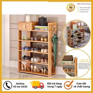 Tủ Để Giày Dép, Kệ Giày Bằng Gỗ 5 Tầng MDF Có Ngăn Kéo, Móc Treo Đồ Lắp Ghép Siêu Tiện Dụng
