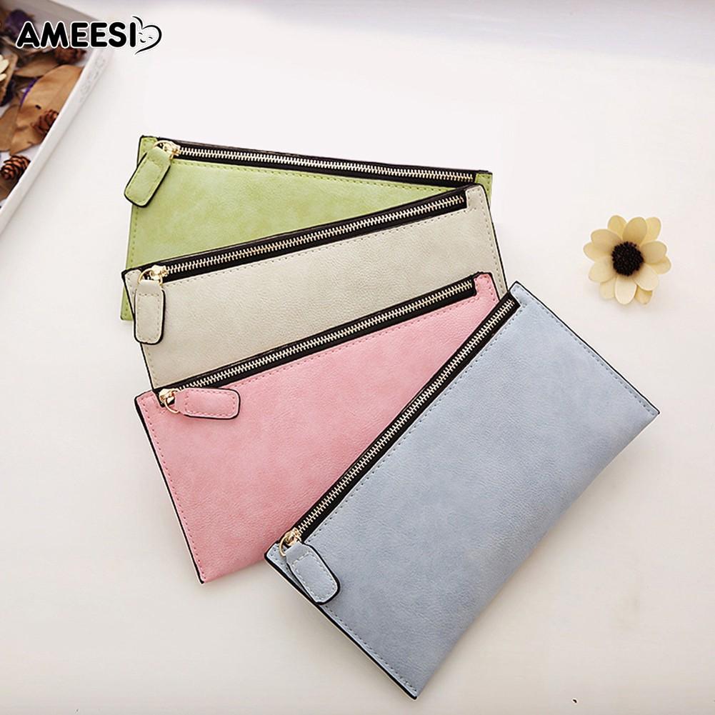 👜👝AMEESI Women\'s Zipper Matte Wallet Clutch Card Holder Purse