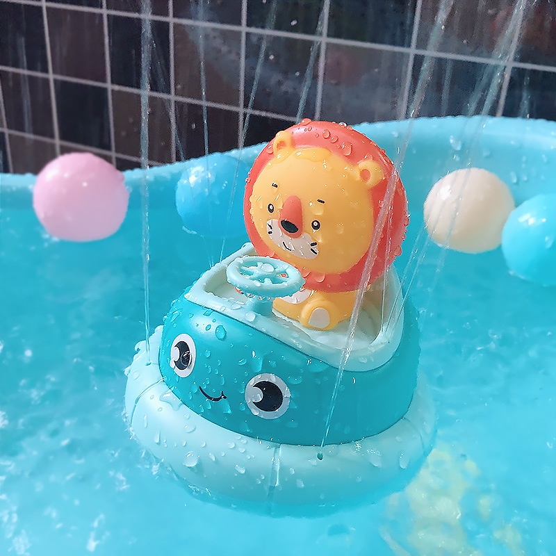 Little Bass Children's Bathroom Electric Rotating Cup Rabbit Lion Combination Baby Spray Bath Puzzle Play Water Toy