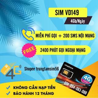 SIM VINA VD149 ,Miễn Phí Data 4GB 1 Ngày Sử Dụng 1 Năm Gọi Và Nhắn Tin – Sản Phẩm Từ 6 Đến 12 Tháng , Bảo Hành 1 Năm