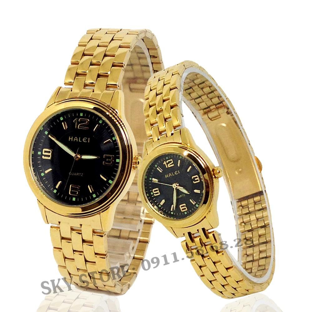 Đồng hồ đôi nam nữ HALEI 7788D dây thép mạ vàng cao cấp thời trang (mặt đen)