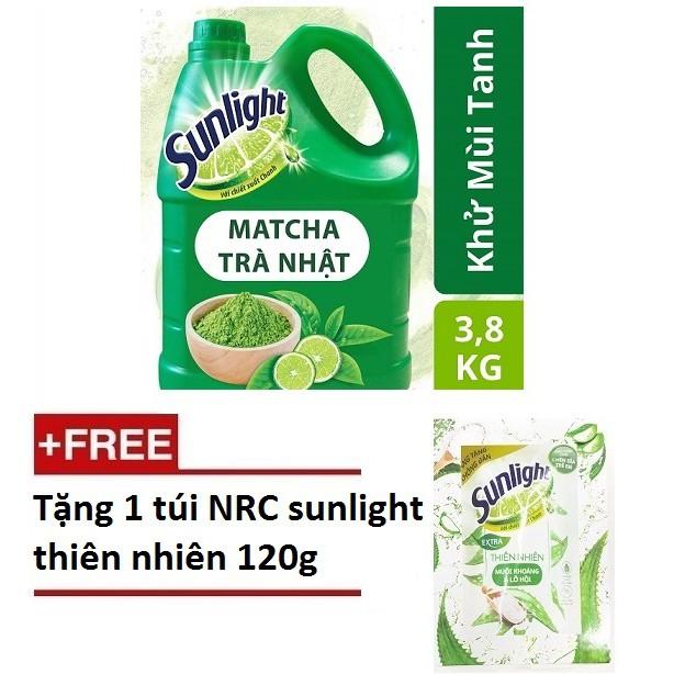 Nước rửa chén Sunlight Matcha Trà Nhật MỚI, chai 3.8kg ( MSP 67403249)+ Tặng 01 túi NRC thiên nhiên