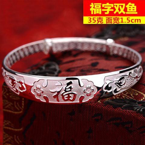 ✳◕♣Pure silver bracelet 9999 woman send mother solid dragon Fengfu middle-aged elder ceremony