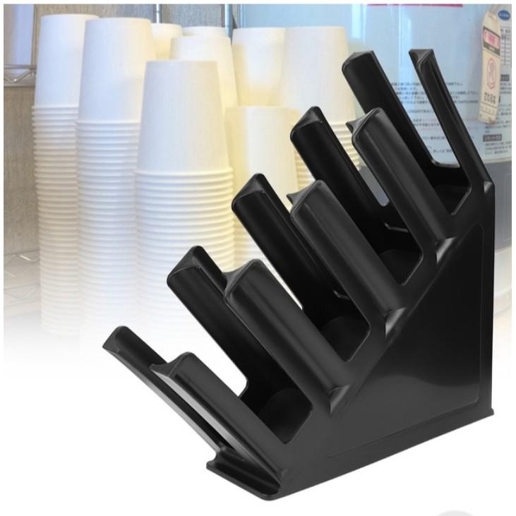 Kệ nhựa đựng ly trà sữa dùng 1 lần - Màu đen