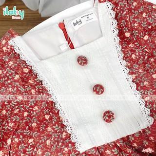 Váy cho bé gái ILABY hoa nhí vintage chất nhung tăm phối thô dệt [V147]
