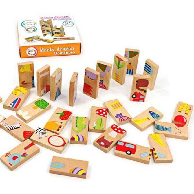 Bộ đồ chơi Domino Minibe bằng gỗ 28 chi tiết – Xếp hình trí tuệ cho bé (MS47) DC-DOMINO-47